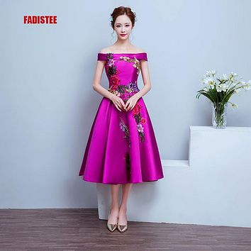 New arrival elegant party prom dress Vestido de Festa appliques lace-up dress free shipping