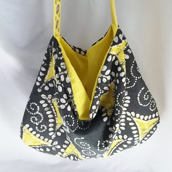 Hobo  Yellow and Black print Hobo bag  READY TO SHIP by ACAmour