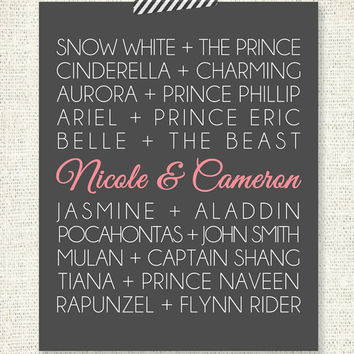 """DISNEY PRINCESS COUPLES - 8"""" x 10"""" Custom Designed Wall Art - Disney Princess and their Princes with your names added in"""
