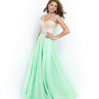 Dew & Nude Beaded V-Neck Low Back Chiffon Gown