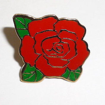 Red Rose Flower Pin