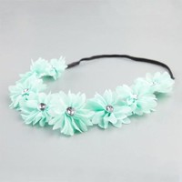 New Mint Full Tilt Stretch Headband Chiffon flowers with rhinestone accents