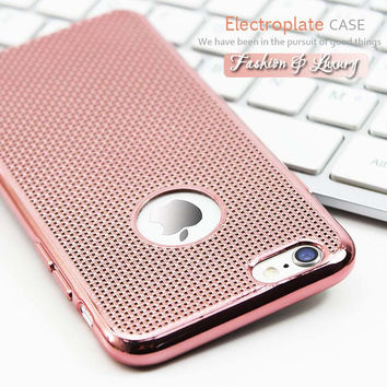 4.7/5.5 Ultra Thin Luxury Rose Gold Plating Phone Cases For iPhone 6 Case Grid Dissipate Heat Soft TPU Cover For iPhone6 6S Plus