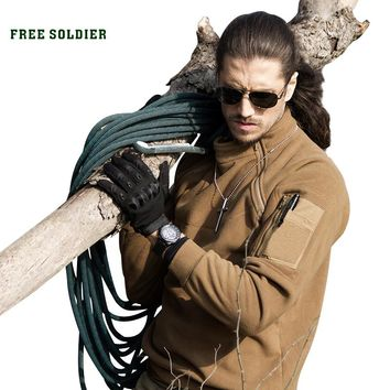 FREE SOLDIER Outdoor Sports Tactical Fleece Fabric Men's Coat For Male For Camping Hiking Outerwear Winter Clothing