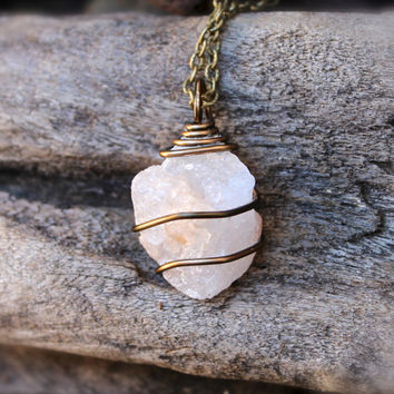 Rough Calcite Necklace, Red Peach Calcite Jewelry, Rough Stone Necklace, Raw Stone Jewelry, Hippie Necklace, Gypsy Jewelry, Wiccan Pendant