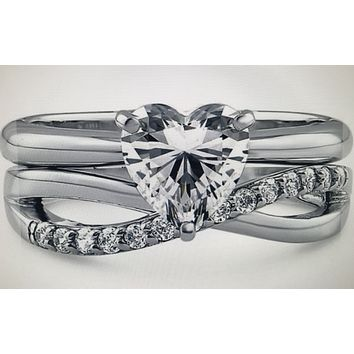 1.2CT Heart Cut Russian Lab Diamond Infinity Bridal Set