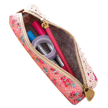 2016 Mini Flower Floral Lace Pencil Pen Case Cosmetic Makeup Make Up Bag Zipper Pouch Purse 8O69