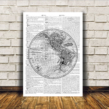 World map poster Antique art Wall decor Vintage print RTA107