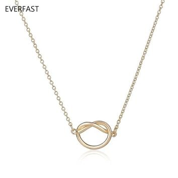 Everfast 1pc New Boho Heart Knot Pendant Colar Simple Gold Silver Ketting Minimalist Love Knot Necklace For Women