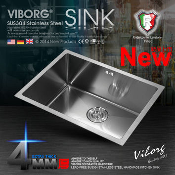 (600X400X220 mm)VIBORG Deluxe Extra-thick 304 Stainless Steel Single Bowl Kitchen Sink+Strainer Set&Rinse Basket& Soap Dispenser