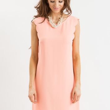 Adriana Scallop Peach Shift Dress