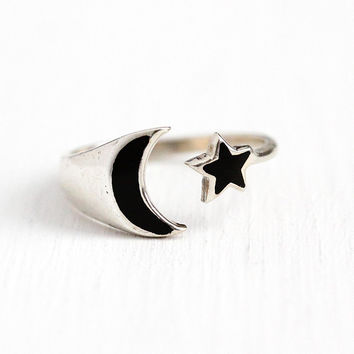 Star & Moon Ring - Vintage Sterling Silver Black Enamel Crescent - Estate 1990s Adjustable Size 7 Celestial Night Sky Figural 90s Jewelry