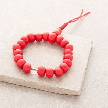 Fair Trade Red Bone Wrist Mala