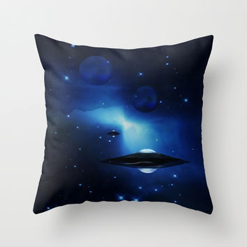 UFO galaxy Throw Pillow by Laureenr