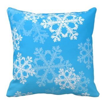 Cute blue and white Christmas snowflakes Pillow