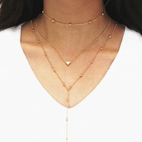 N262 Minimalist Clavicle Necklace Tassel Women Sexy Multilayer Choker Collares Boho Heart Pendant Necklaces Summer Beach Jewelry