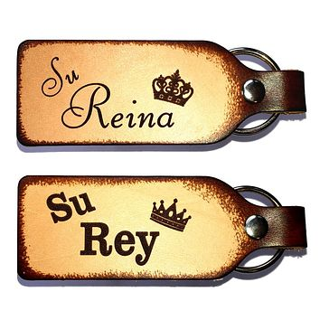 Su Rey & Su Reina Leather Keychain Set