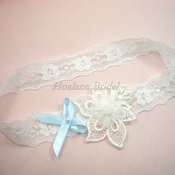 Lace garter, white stretchy lace trim garter, Bridal garter with blue bow