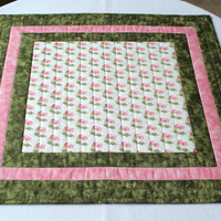 Quilted Table Topper - Cherries, pink and green table topper
