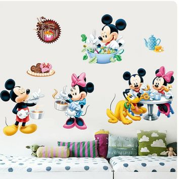 Removable Mickey Mouse children wall stickers DIY 3D Minnie wall stickers for children's room Border Tiles For Bathrooms