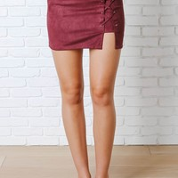 Burgundy Suede Lace-Up Mini Skirt