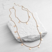 Rose Gold Discs Double Layer Necklace