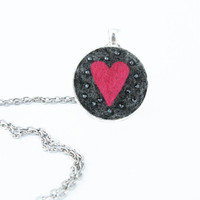 Needle Felted Pendant and Chain - Silver Finish, Grey Needle Felted Wool with Hot Pink Heart and Silver Glass Beads, Jewelry Gifts