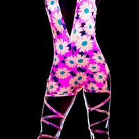 Blacklight Reactive Daisies Romper Glow Two Piece