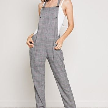 Plaid Overall Jumpsuit in Grey