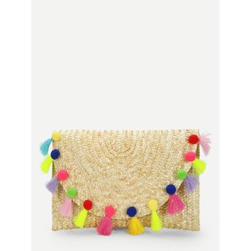 Straw Flap Purse With Pom Pom