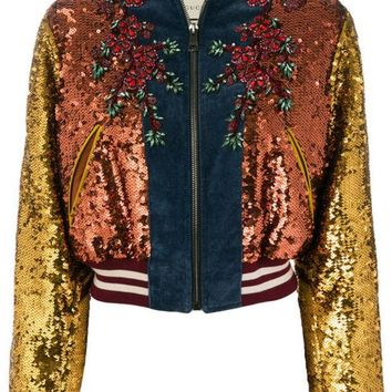 ESBONJF Gucci GG Web Sequinned Bomber Jacket - Farfetch