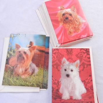 Cute Dog Stationery Cards, Three Different Yorkie and Westie Terrier Designs, GJC Cards, 70s Era