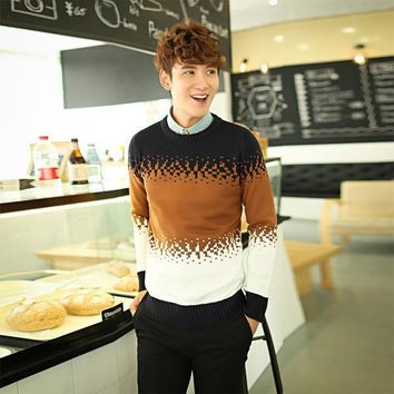 Mens Three Faded Pattern Pullover Sweater
