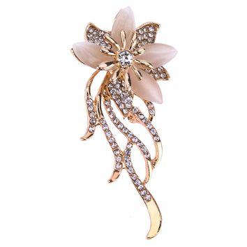 Valentine's Day Star Flower Brooch Pins Alloy Tassel Brooch Flower Opal Brooch  Broches Lady Clothing Pin Brooches Jewelry Gift