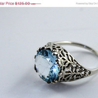 50% OFF - WEEKEND SALE - Stamped 925 silver, 1920's antique, Edwardian or Art Deco style Ring, Blue Topaz, delicate filagree.