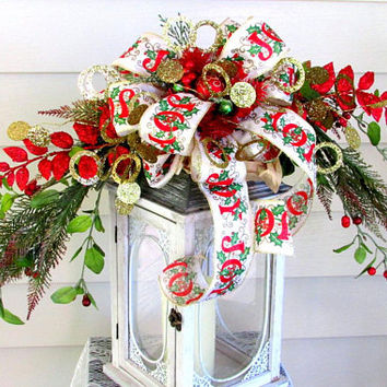 lantern swag Christmas, lantern toppers, Christmas lantern bow, wreath swag, Christmas swags, holiday lantern swag, mantel decor