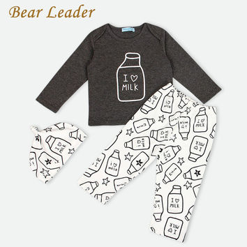 I love milk T-shirt+Pants+Hat 3Pcs Kids Clothing Sets