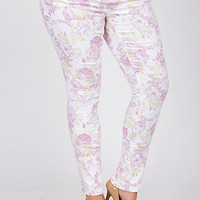 Junior Plus Size Floral Skinny Jean