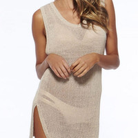 Beige Knitted Side Slit Sleeveless Beach Cover Up