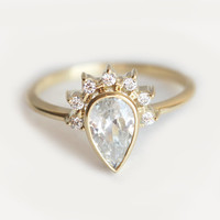 Pear Diamond Engagement Ring With Prong Set Diamonds, Half Halo Diamond Engagement Ring, Pear Diamond Ring, 0.75 Carat Diamond Ring