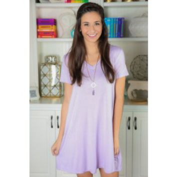 EVERLY: Simple As That V-Neck T-Shirt Dress-Lilac