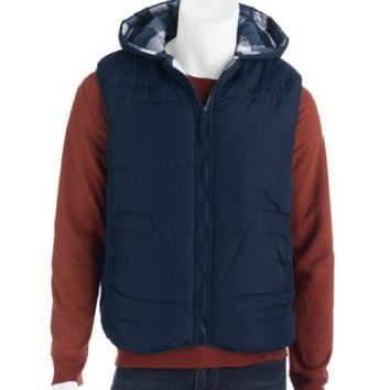 Climate Concepts Men's Reversible Nylon Vest to Flannel Plaid, Small, Navy/Grey