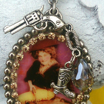 Cowgirl Vintage Pinup Art Pendant Assemblage Necklace Western Pistol Gun Jewelry