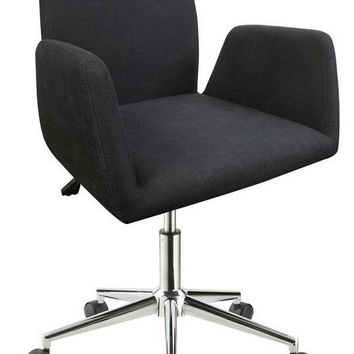 Retro modern collection dark grey fabric upholstered seat office chair with casters