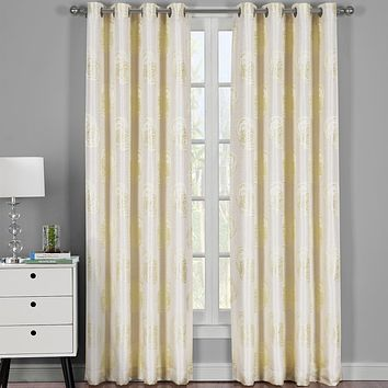 Light Yellow 108x84 Lafayette Jacquard Grommet Curtain Panels (Set of 2)