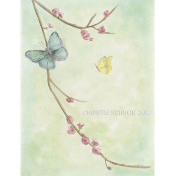 8x10 Archival Art PRINT of Watercolor painting Butterflies Flowers Shabby Dreamy Pastels