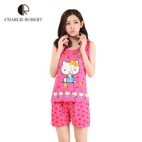 2016 New Womens Pajamas Hello Kitty Sleepwear For Women Pajamas Sets For Girls Hot Sales Hello Kitty Clothing Sets Free Shipping