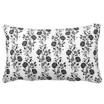 Black And White Floral Lines Pattern Pillows