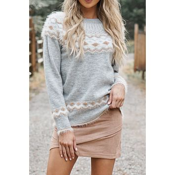 Feeling Nostalgic Sweater (Grey/Cream/Mocha)