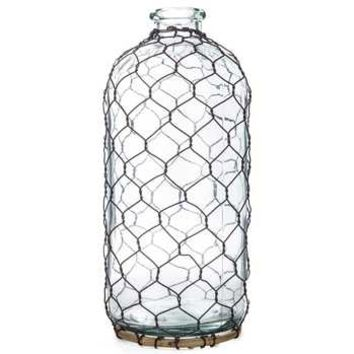 Clear Glass Bottle with Chicken Wire - Medium | Hobby Lobby | 963033